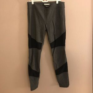 Gray Forever21 leggings with black mesh